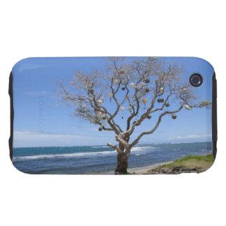 Un árbol adornado con las boyas viejas en la playa iPhone 3 tough protector