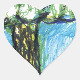 Un árbol de mi mente de los corazones pegatina corazón