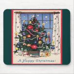 Un árbol de navidad feliz del vintage tapete de raton