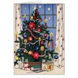 Un árbol de navidad feliz del vintage tarjeta