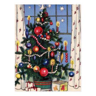 Un árbol de navidad feliz del vintage tarjetas postales