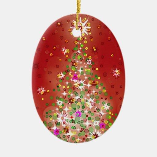 Un árbol de navidad que brilla intensamente adorno navideño ovalado de cerámica