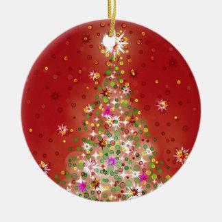 Un árbol de navidad que brilla intensamente adorno redondo de cerámica