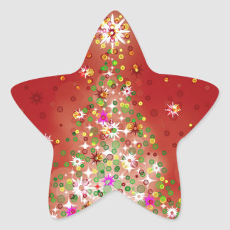 Un árbol de navidad que brilla intensamente calcomanía forma de estrella personalizadas