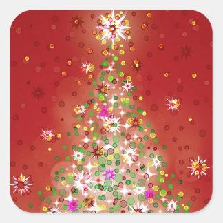 Un árbol de navidad que brilla intensamente pegatina cuadrada