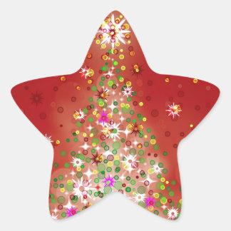 Un árbol de navidad que brilla intensamente pegatina en forma de estrella