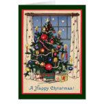Un árbol de navidad/un vintage pasados de moda felicitaciones