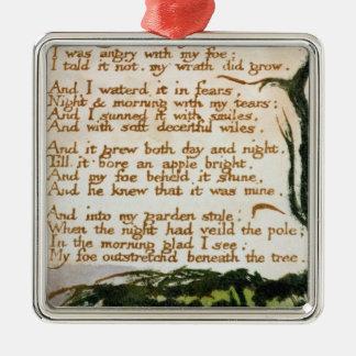 Un árbol del veneno, de canciones de la adorno navideño cuadrado de metal