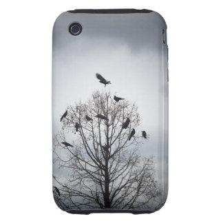 Un árbol en el cual muchos cuervos tienen resto iPhone 3 tough cárcasa