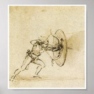 Un Archer con un escudo, Leonardo da Vinci Póster