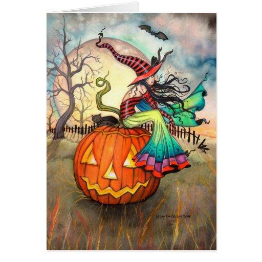 Un arte de Halloween del gato de la bruja de la ca Tarjeton