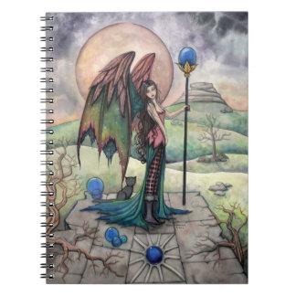 Un arte gótico de hadas de la fantasía de la luna  libro de apuntes con espiral