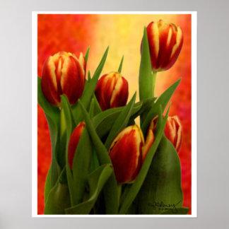 Un arte más pequeño del tapiz de los tulipanes el poster