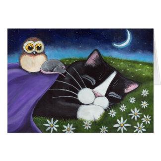Un arte vigilante del gato de la fantasía del ojo tarjeta de felicitación