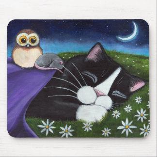 Un arte vigilante del gato del smoking de la tapete de raton