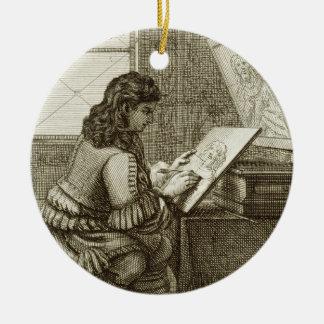 Un artista que copia sobre una placa del grabado, adorno navideño redondo de cerámica