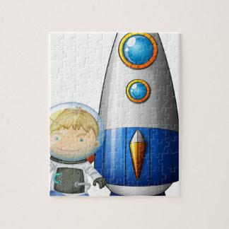 Un astronauta al lado del dirigible puzzles