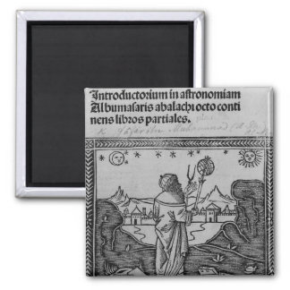 Un astrónomo stargazing imán cuadrado