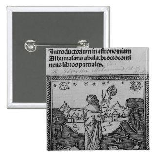 Un astrónomo stargazing pin cuadrada 5 cm