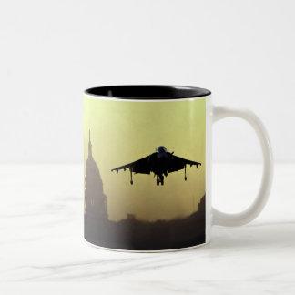 Un aterrizaje del jet del corredor de cross en la taza de dos tonos