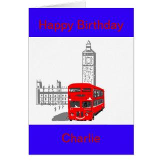 Un autobús sonriente de Londres, cumpleaños, Tarjeta De Felicitación