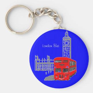 Un autobús sonriente de Londres Llavero Redondo Tipo Pin