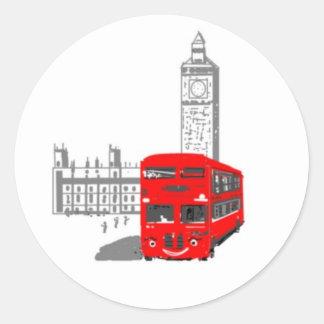 Un autobús sonriente de Londres Pegatina Redonda