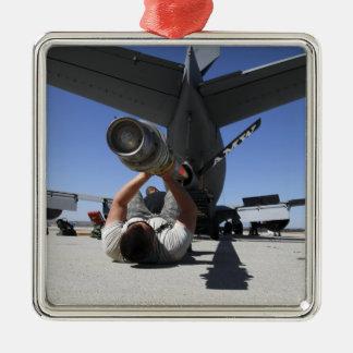 Un aviador de la fuerza aérea de los E.E.U.U. Adorno Navideño Cuadrado De Metal