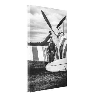 Un avión de combate de la Royal Air Force del Spit Impresión En Lona Estirada