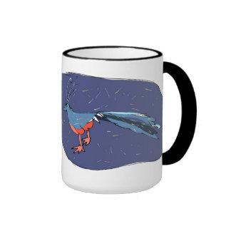 Un azul empluma el pavo real taza de dos colores