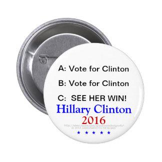 UN B C: ¡El voto para Clinton, considera su triunf Pin Redondo 5 Cm