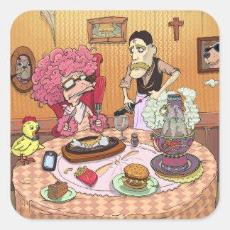 Un banquete pegatina cuadrada