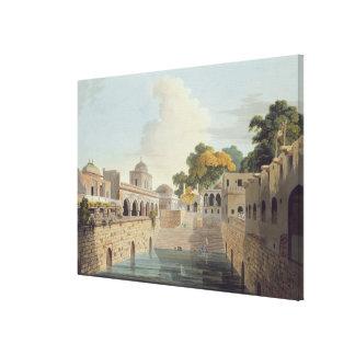 Un Baolee cerca de la ciudad vieja de Delhi, placa Lienzo Envuelto Para Galerias