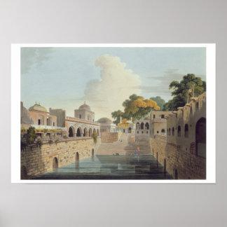 Un Baolee cerca de la ciudad vieja de Delhi, placa Póster