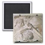 Un bárbaro que lucha a un legionario romano imán cuadrado