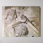 Un bárbaro que lucha a un legionario romano póster