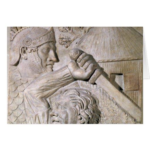 Un bárbaro que lucha a un legionario romano tarjeta de felicitación