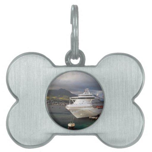 Un barco de cruceros atracado en Barbados Placas De Mascota
