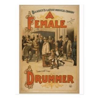 """Un batería de sexo femenino, teatro retro del """"Tax Tarjetas Postales"""