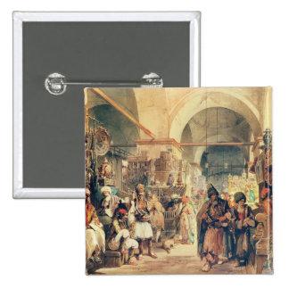 Un bazar turco, 1854 (lápiz y w/c en el papel) pin cuadrado