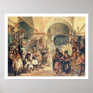 Un bazar turco, 1854 (lápiz y w/c en el papel) póster