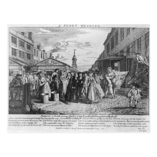Un boda de la flota, 1747 tarjeta postal