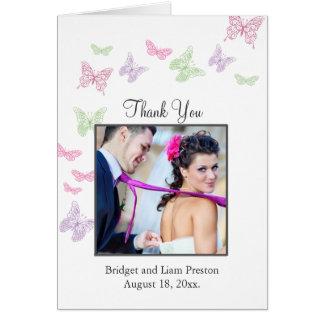 Un boda del alboroto del corazón le agradece tarjeta pequeña