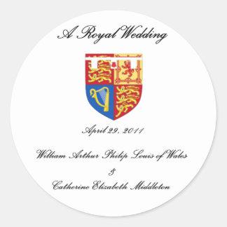 Un boda real pegatina redonda