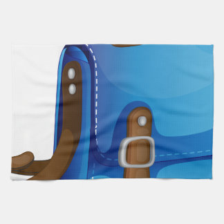 un bolso azul toallas de cocina