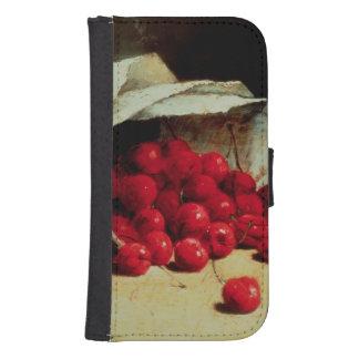 Un bolso derramado de cerezas fundas cartera para teléfono