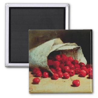 Un bolso derramado de cerezas imanes