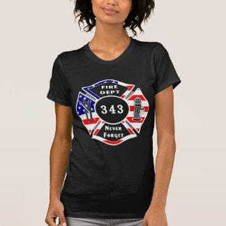 Un bombero 9/11 nunca olvida 343 playeras