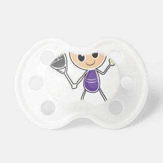 Un bosquejo de un muchacho que juega a tenis chupetes de bebé