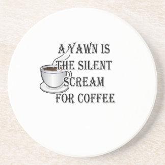 Un bostezo es el grito silencioso para el café posavasos para bebidas
